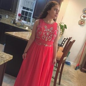 Macy's Hot Pink Evening Gown Prom Dress